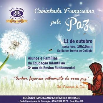 Caminhada Franciscana pela Paz será em 11/10