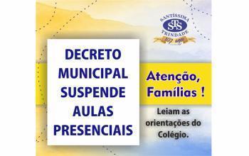Decreto municipal determina suspensão de aulas presenciais