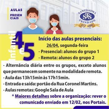 Aulas presenciais: Educação Infantil e 1º e 2º ano do EF