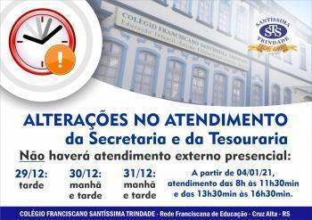 Alteração horário Secretaria e Tesouraria